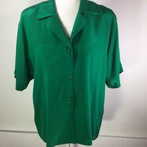 Ellen Tracy Emerald Green Silk Blouse 8